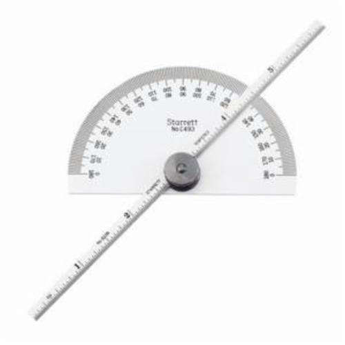 Starrett® C493 Non-Reversible Protractor/Depth Gage, 0 to 180 deg Measuring, 3-9/32 in L, 6 in L x 3/16 in W Blade, Graduations 32nds, 64ths, Steel