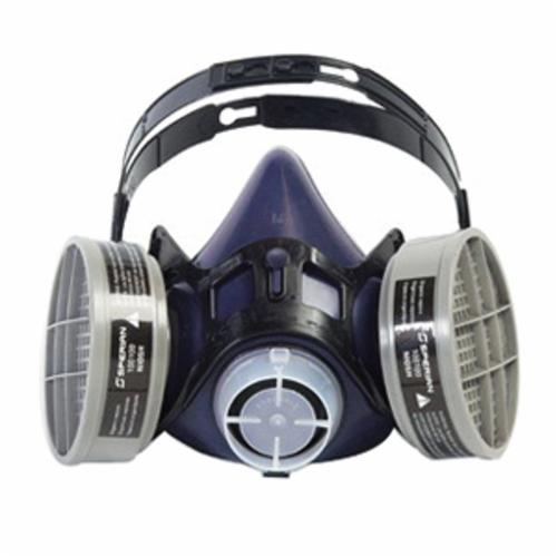 Honeywell Safety 313000 ValueAir® Plus T Half Mask Respirator, L, 8-Strap Adjustment Suspension, Threaded Connection, Resists: Airborne Particulates, Chemical, Contamination, Gas, Vapors and Smoke