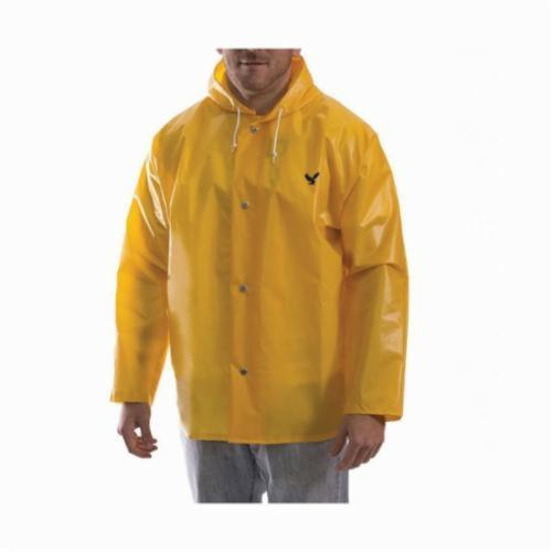 Tingley Iron Eagle® J22107-5X Lightweight With Attached Hood, Unisex, 5XL, Gold, Polyurethane on 210D Nylon, Resists: Fats, Oils, Pine Tars, Gasoline, Grease, Mildew, Hydrocarbon Oils, Organic Acids, Salts, Alkalies and in Some Organic Solvents, ASTM E96