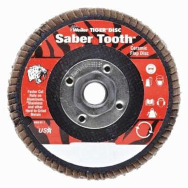 Trimmable Tiger® 50007V Vending Ready Coated Abrasive Flap Disc, 4-1/2 in Dia, 60 Grit, Medium Grade, Zirconia Alumina Abrasive, Type 29/Angled Disc