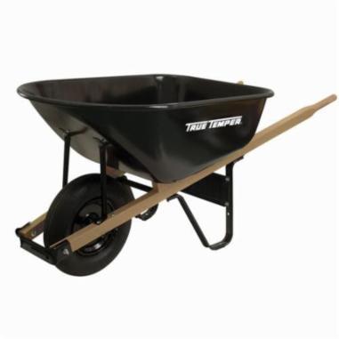 True Temper® J6 Wheelbarrow, 6 cu-ft, 1 Wheels, Tubed Tire, Steel Tray, Hardwood Handle