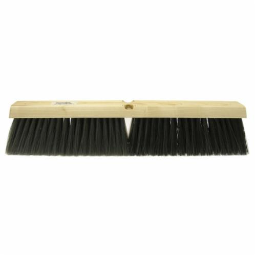Vortec Pro® 25234 Threaded Tip Push Broom, 18 in OAL, 3 in Trim, Medium Sweep Face, Dark Gray/Black Polystyrene Border/Stiff Polypropylene Bristle