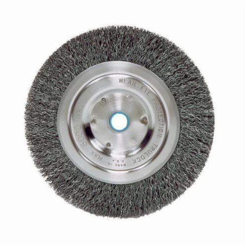 Vortec Pro® 36002 Narrow Face Wheel Brush, 6 in Dia Brush, 0.008 in Dia Crimped Filament/Wire, 1/2 to 5/8 in Arbor Hole