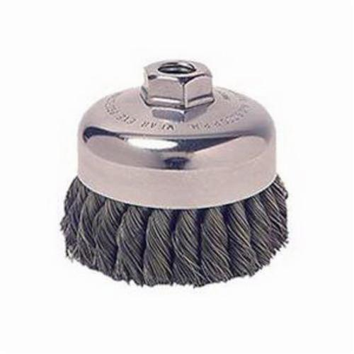 Vortec Pro® 36066 Single Row Cup Brush, 3-1/2 in Dia Brush, 5/8-11 UNC Arbor Hole, 0.023 in Dia Filament/Wire, Standard/Twist Knot, Carbon Steel Fill