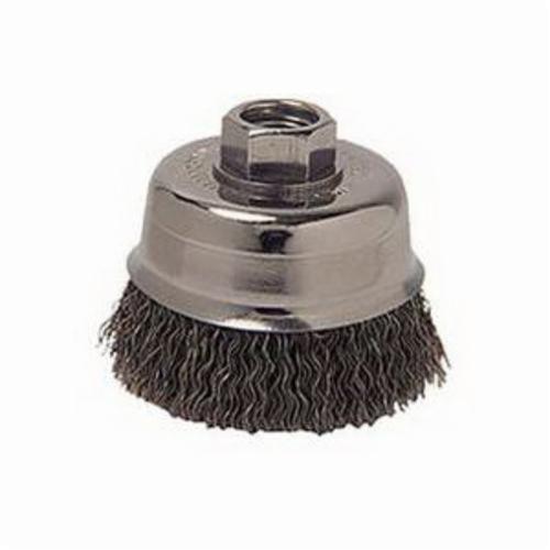 Vortec Pro® 36068 Cup Brush, 3-1/2 in Dia Brush, 5/8-11 UNC Arbor Hole, 0.014 in Dia Filament/Wire, Crimped, Carbon Steel Fill
