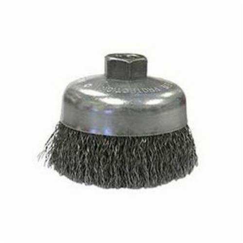 Vortec Pro® 36070 Single Row Cup Brush, 5 in Dia Brush, 5/8-11 UNC Arbor Hole, 0.023 in Dia Filament/Wire, Standard/Twist Knot, Carbon Steel Fill