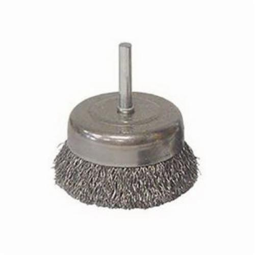 Vortec Pro® 36230 Stem Mounted Utility Cup Brush, 3 in Dia Brush, 0.014 in Dia Filament/Wire, Crimped, Carbon Steel Fill
