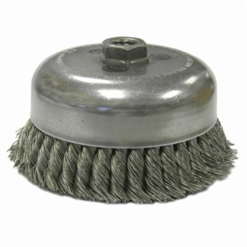 Weiler® 12536 Double Row Heavy Duty Cup Brush, 6 in Dia Brush, 5/8-11 UNC Arbor Hole, 0.014 in Dia Filament/Wire, Standard/Twist Knot, Steel Fill