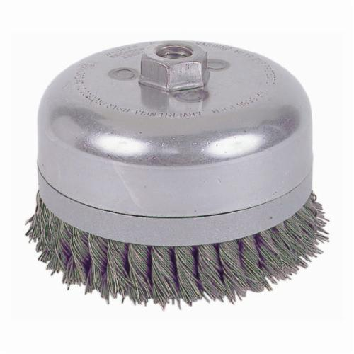 Weiler® 12676 Banded Extra Double Row Heavy Duty Cup Brush, 6 in Dia Brush, 5/8-11 UNC Arbor Hole, 0.023 in Dia Filament/Wire, Standard/Twist Knot, Steel Fill