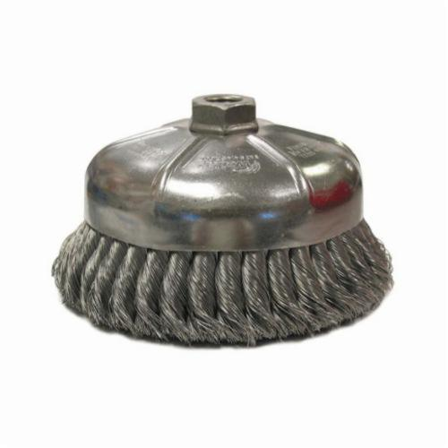 Weiler® 12856 Single Row Cup Brush, 6 in Dia Brush, 5/8-11 UNC Arbor Hole, 0.023 in Dia Filament/Wire, Standard/Twist Knot, Steel Fill