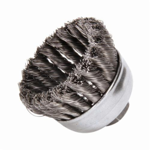 Weiler® 13025 Single Row Cup Brush, 2-3/4 in Dia Brush, 5/8-11 UNC Arbor Hole, 0.014 in Dia Filament/Wire, Standard/Twist Knot, Steel Fill