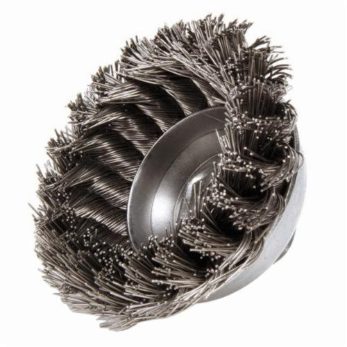 Mighty-Mite™ 13163 Single Row Cup Brush, 3-1/2 in Dia Brush, 5/8-11 UNC Arbor Hole, 0.023 in Dia Filament/Wire, Standard/Twist Knot, Stainless Steel Fill