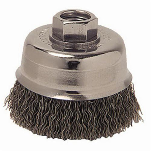 Mighty-Mite™ 13245 Cup Brush, 3 in Dia Brush, 5/8-11 UNC Arbor Hole, 0.014 in Dia Filament/Wire, Crimped, Steel Fill