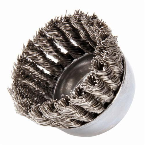 Mighty-Mite™ 13258 Single Row Cup Brush, 2-3/4 in Dia Brush, 5/8-11 UNC Arbor Hole, 0.02 in Dia Filament/Wire, Standard/Twist Knot, Stainless Steel Fill