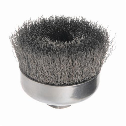 Weiler® 14026 Cup Brush, 4 in Dia Brush, 5/8-11 UNC Arbor Hole, 0.014 in Dia Filament/Wire, Crimped, Steel Fill