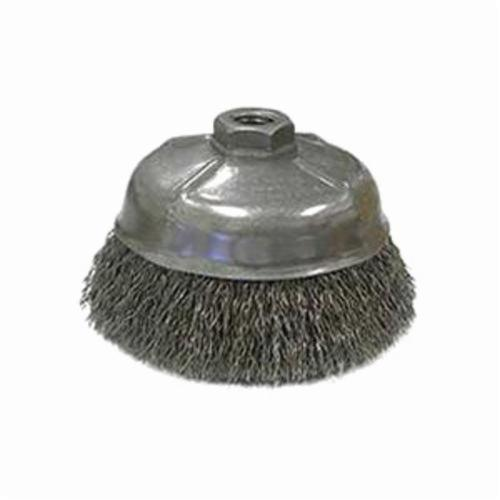 Weiler® 14256 Cup Brush, 5 in Dia Brush, 5/8-11 UNC Arbor Hole, 0.02 in Dia Filament/Wire, Crimped, Stainless Steel Fill
