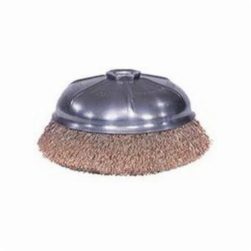 Weiler® 14316 Internal Nut Non-Sparking Cup Brush, 6 in Dia Brush, 5/8-11 UNC Arbor Hole, 0.02 in Dia Filament/Wire, Crimped, Bronze Fill