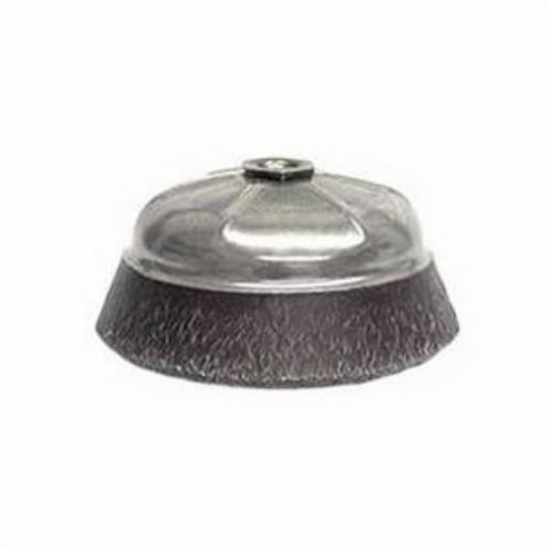 Polyflex® 35186 Encapsulated Cup Brush, 4 in Dia Brush, 5/8-11 UNC Arbor Hole, 0.02 in Dia Filament/Wire, Crimped, Steel Fill