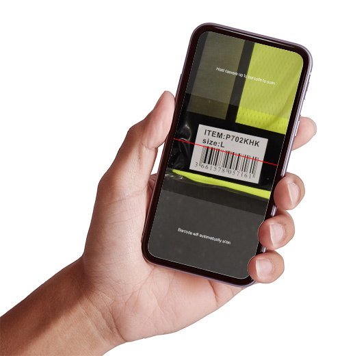 Man holder phone scanning product barcode, UPC