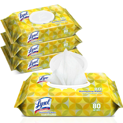 6 pack case of Lysol Disinfecting Wipes - Lemon and Lime Scent