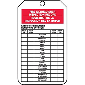 Accuform® Fire Extinguisher Inspection Tag, 5/PK
