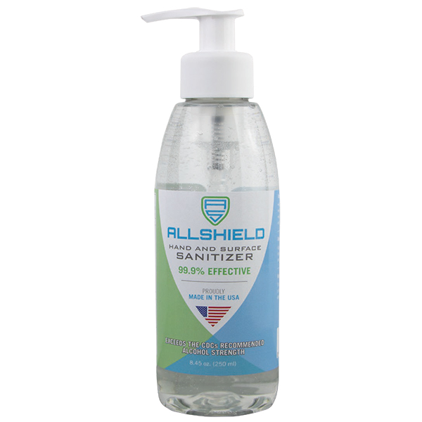 AllShield 2258 Gel Hand Sanitizer, 8oz pump