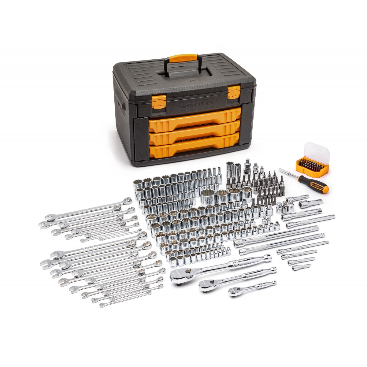 GearWrench®; 80972 243 Pc. 12 PointMechanics Tool Set in 3 Drawer Storage Box