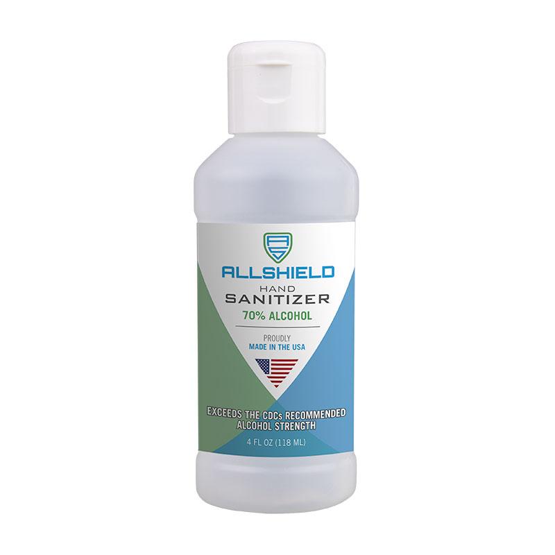 Allshield 2254 Gel Hand Sanitizer, Squeeze Bottle, 4oz