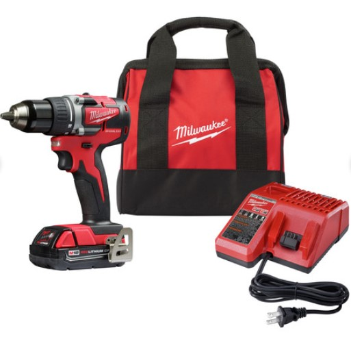 Milwaukee 2801-21P M18 Lithium-Ion Compact Brushless 1/2 in. Cordless Drill Driver Kit (2 Ah)