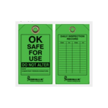 "Accuform® CT63 Green OK Safe for Use Tag, 5-3/4"" x 3-1/4"", Double Sided, Dry Erase Finish"