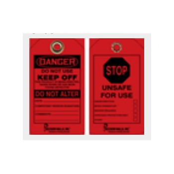 """Accuform® CT63 Black on Red Stop Unsafe for Use Tag, 5-3/4"""" x 3-1/4"""", Double Sided, Dry Erase Finish"""