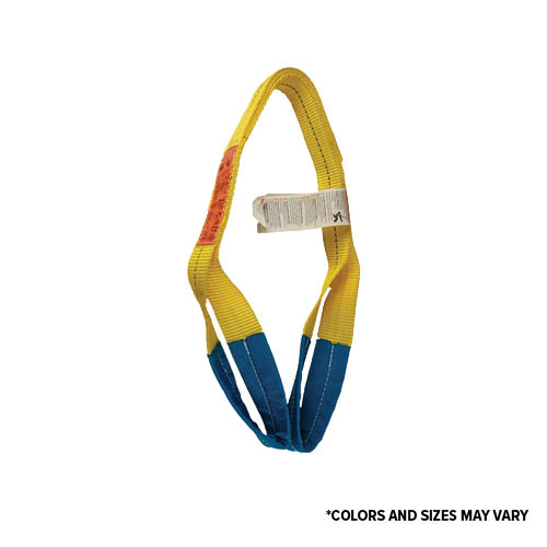ALL MATERIAL HANDLING Eye & Eye Web Sling, Heavy Duty Polyester, Yellow & Blue, Various Sizes