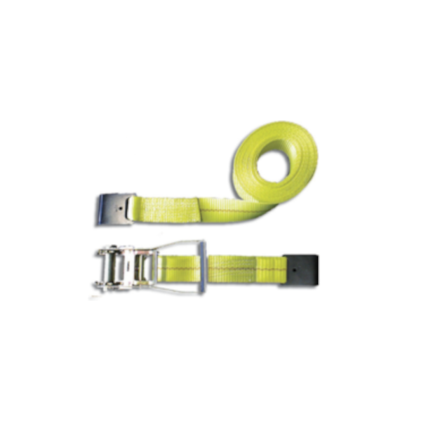 All Material Handling TD 0120 Two Part Ratchet Tie Down Assembly, 1 in x 20 ft, Yellow, 2000 lb Capacity