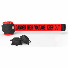 """Banner Stakes MH5010 Magnetic Wall Mount Barrier, Red """"Danger High Voltage Keep Out"""" Banner, 30'"""