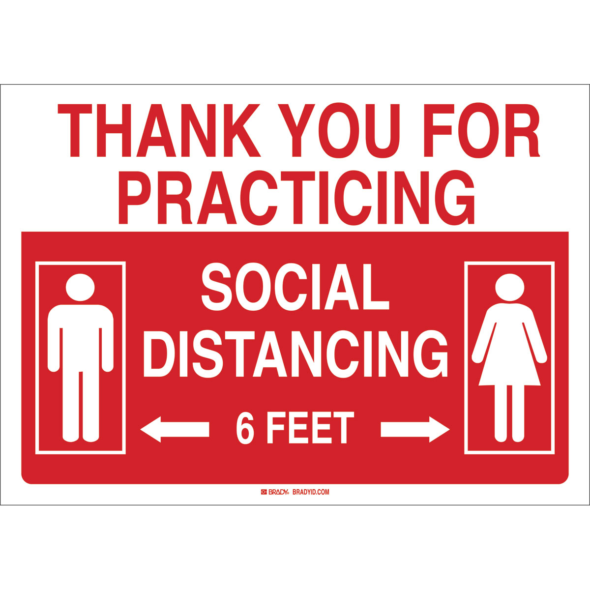 "Brady Thank you for Practicing Social Distance Sign, White on Red, 10"" x 14"""
