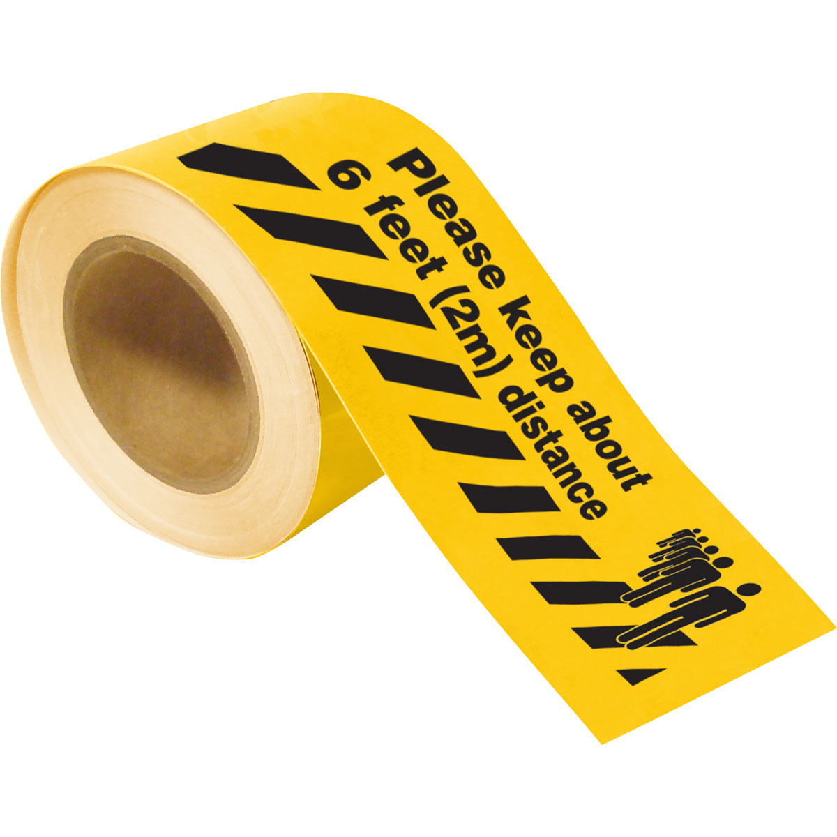 """Brady 170216 Social Distancing Polyester Floor Tape, Black on Yellow, 4"""" x 100'"""