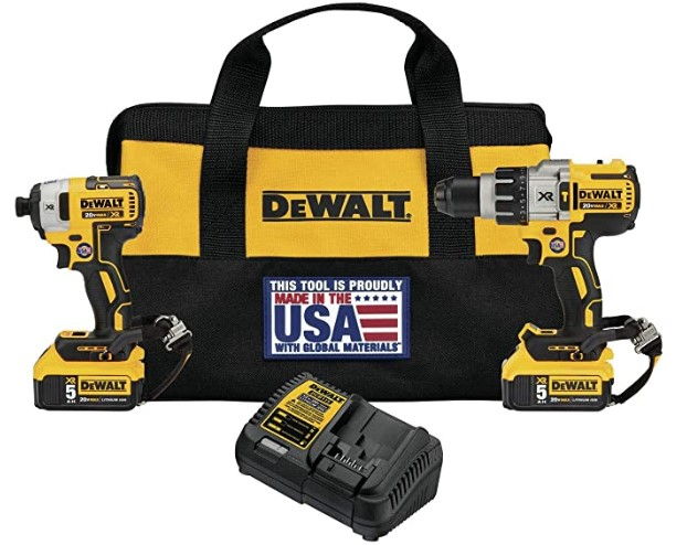 DEWALT DCK299P2LR 20V Max XR Hammerdrill/Impact Driver Combo Kit with Lanyard Ready Attachment Point