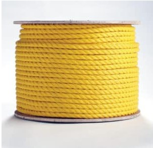 "Erin Rope Company 1/4"" 3 Strand Twisted Yellow Polypropylene Rope, 600'"