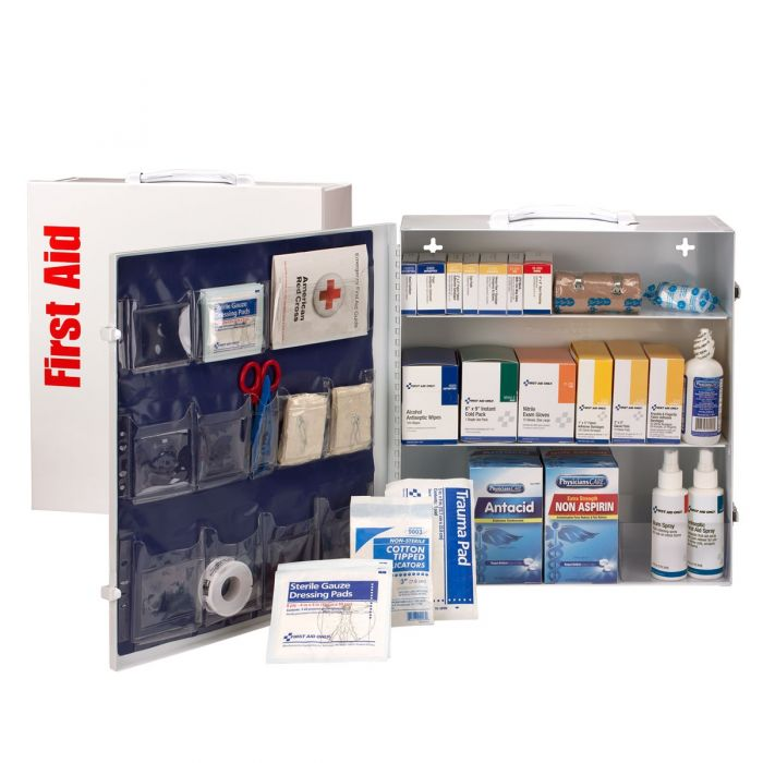 100 Person ANSI A+, Type I & II First Aid Cabinet with Medications