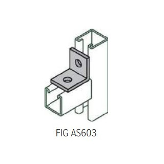 AS603 90 Degree Angle Connector, 2 hole, Galvanized Steel