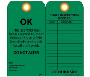 "NMC™ SPT-3 Green OK Scaffold Inspection Tags, 6"" x 3"", 25/pack"