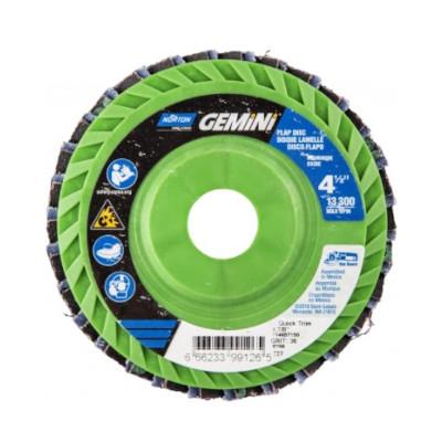 Norton® Gemini 66623399004 R766 Center Mount Quick-Trim Standard Density Coated Abrasive Flap Disc, 4-1/2 in Dia, 7/8 in Center Hole, P40 Grit, Extra Coarse Grade, Aluminum Oxide/Zirconia Alumina Abrasive, Type 27/Flat Disc