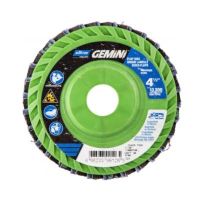 Norton® Gemini 66623399006 R766 Center Mount Quick-Trim Standard Density Coated Abrasive Flap Disc, 4-1/2 in Dia, 7/8 in Center Hole, P80 Grit, Coarse Grade, Aluminum Oxide/Zirconia Alumina Abrasive, Type 27/Flat Disc