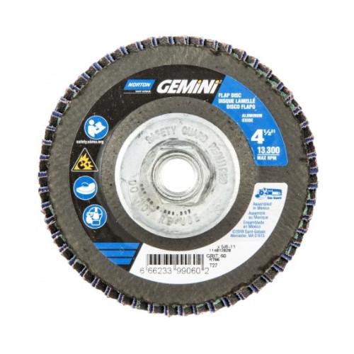 Norton® Gemini 66623399061 R766 Arbor Thread High Density Coated Abrasive Flap Disc, 4-1/2 in Dia, P80 Grit, Coarse Grade, Aluminum Oxide/Zirconia Alumina Abrasive, Type 27/Flat Disc