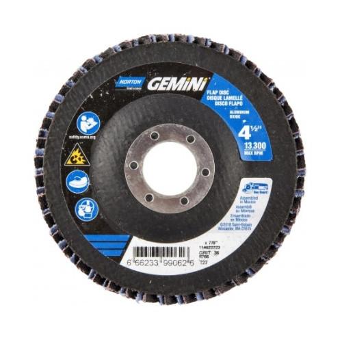 Norton® Gemini 66623399063 R766 Center Mount High Density Coated Abrasive Flap Disc, 4-1/2 in Dia, 7/8 in Center Hole, P40 Grit, Extra Coarse Grade, Aluminum Oxide/Zirconia Alumina Abrasive, Type 27/Flat Disc