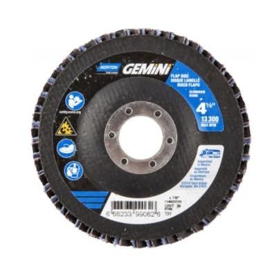 Norton® Gemini 66623399065 R766 Center Mount High Density Coated Abrasive Flap Disc, 4-1/2 in Dia, 7/8 in Center Hole, P80 Grit, Coarse Grade, Aluminum Oxide/Zirconia Alumina Abrasive, Type 27/Flat Disc
