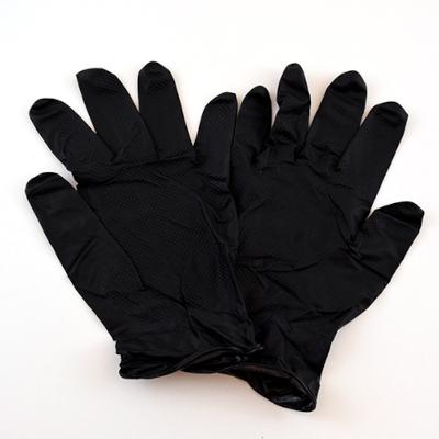 Grippaz Black Disposable Nitrile Gloves, 6 mil Thick, Powder-free, Powergrip Fishscale, Sizes M-2XL, 50/Box