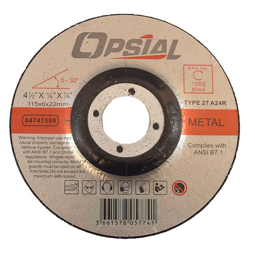 "Opsial 64747509 Depressed Center Grinding Wheel  4 ½"" x ¼"" x 7/8"" Arbor,  Type 27, A/O, A24"