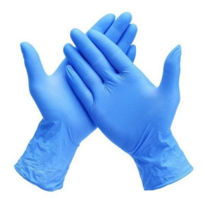 Opsial P702 Disposable Blue PF Nitrile Gloves, 3mil, 100/box