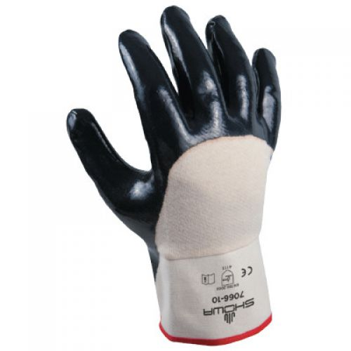 Nitri-Pro® 7066 General Purpose Gloves, Coated, Nitrile Palm, Cotton, Navy/White, Reinforced Safety Cuff, Nitrile Coating, Resists: Abrasion, Cut, Oil, Snag and Puncture, Cotton Jersey Lining, Wing Thumb